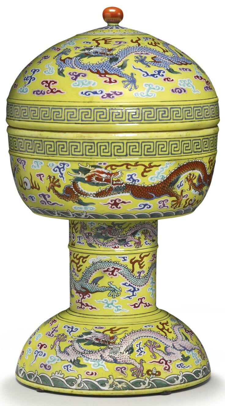 A yellow-ground altar vessel and cover (dou), Jiaqing seal marks and period
