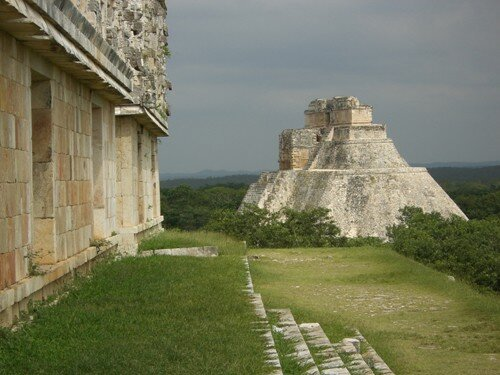 Uxmal - View of the Pyramid of Magician from the Palace of the Governor