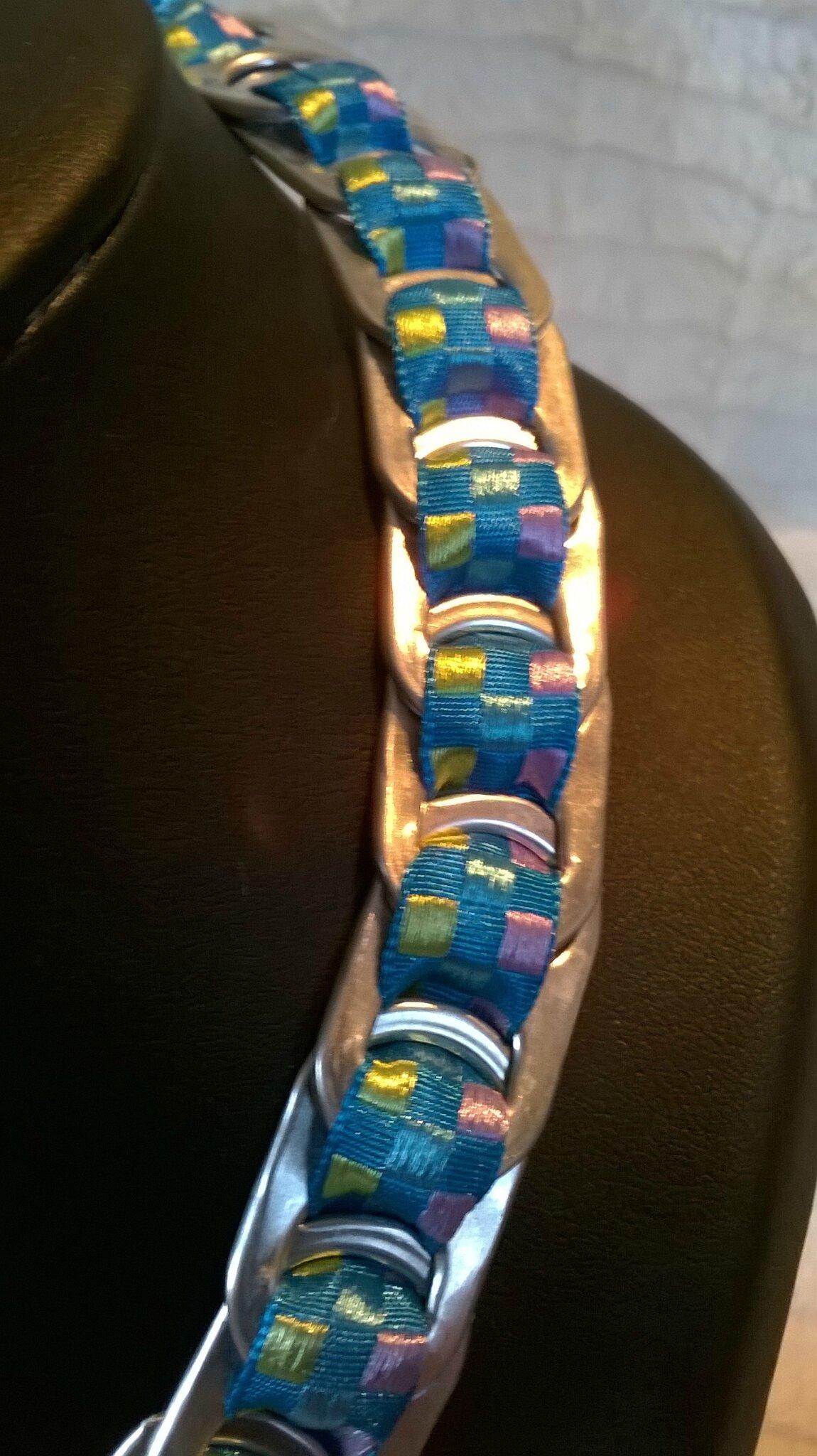 gros plan ruban madras turquoise