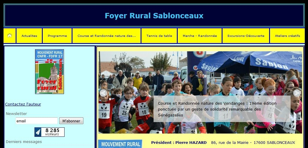 Site du Foyer rural avec 2 options (les 2 sont possibles) : Contactez l'auteur / Vous abonner à sa Newsletter