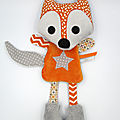 Doudou renard orange gris