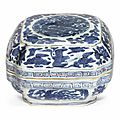 A small blue and white cushion-form box and cover, Jiajing six-character mark in underglaze blue and of the eeriod (1522-1566)