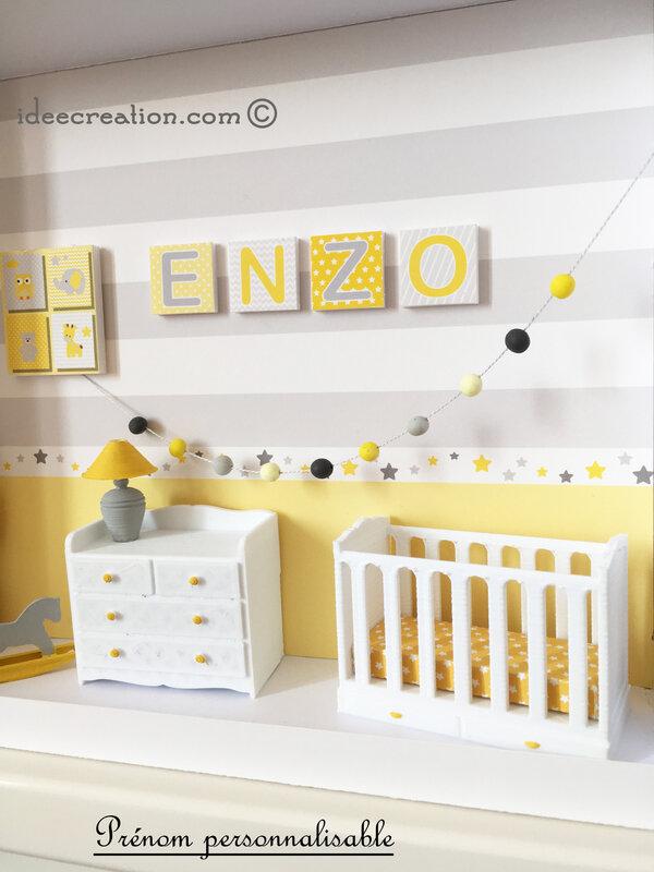 cadre prenom bebe chambre miniature jaune 4