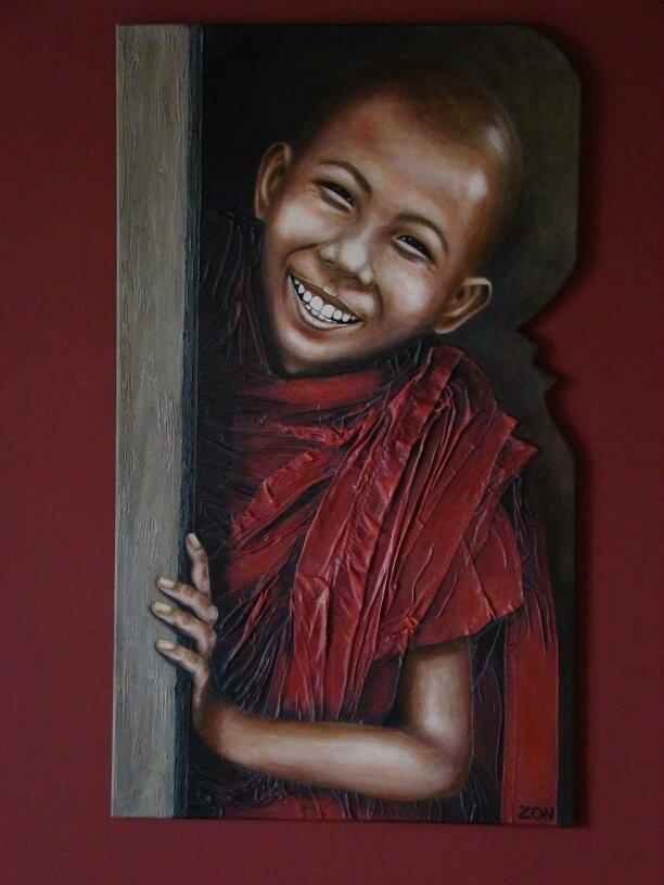 """Tableau enfant moine tibétain: """"Candidement"""" (MAJ)"""
