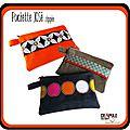 pochette / trousse josé zippée original orange et bande noir à grosses fleurs blanches - accessoire chic et coloré