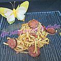 Pâtes aux saucisses de montbeliard et lardons