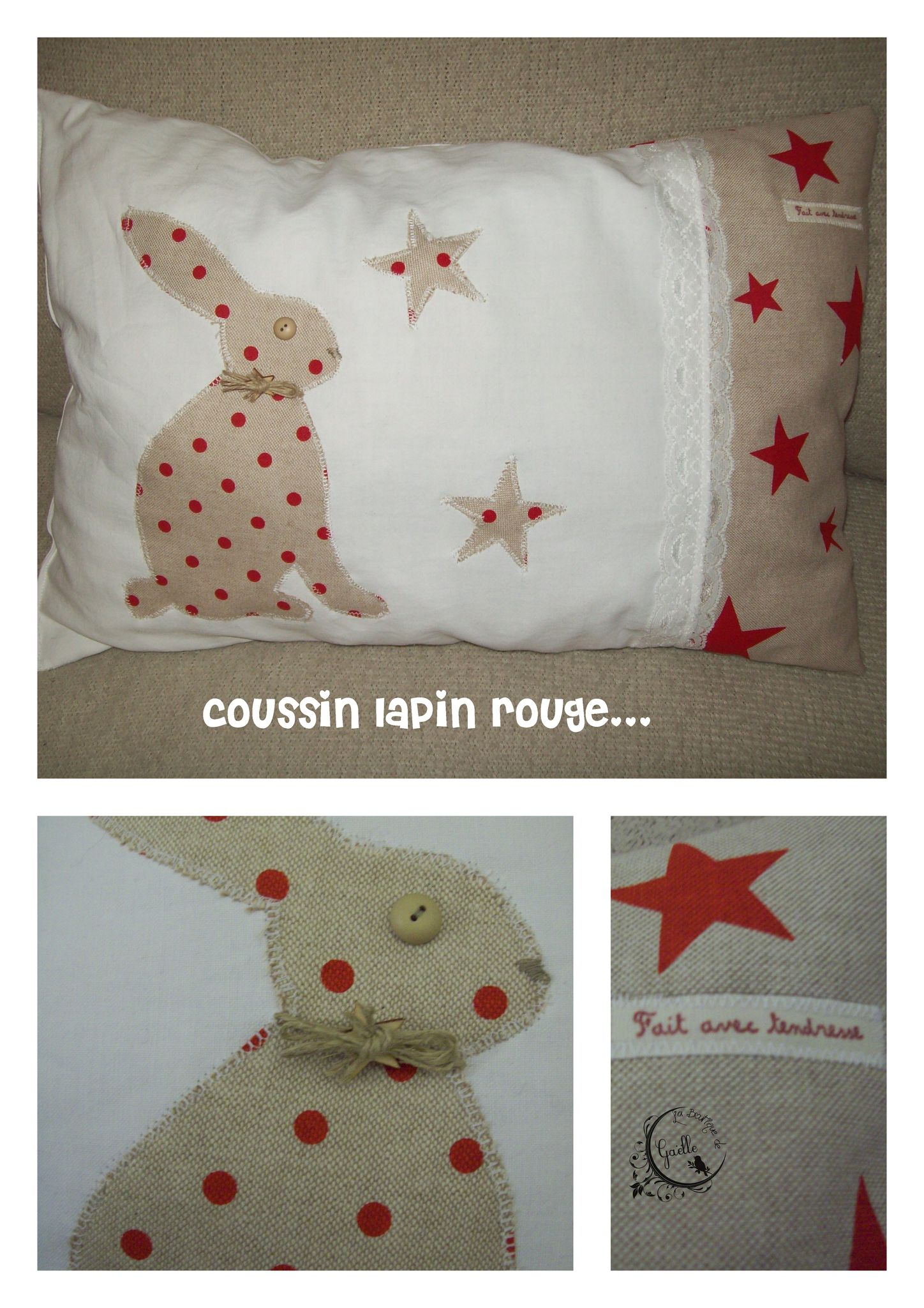 Coussin lapin rouge...