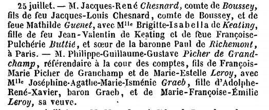 Buttié Pulchérie Françoise_Mariage Brigitte Isabella 1861_Annuaire de la noblesse 1862