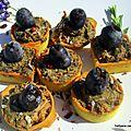 Mini-bouchée apéritif à la crème olives/fromage de chèvre/ herbes et foie de morue