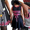 MOD 424B Robe Colorée Fleurie rayée Rose noir blanc esprit Fantaisie Couture à l'imprimé Fleuri Marguerites