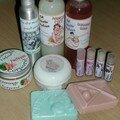 gommage et huile pour le corps parfumées pasteque, gel douche ma