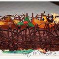 Bûche de noël à l'orange , grand marnier et ganache chocolat noir