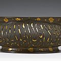 A gilt-splashed bronze censer, ming dynasty (1368-1644)
