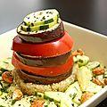 Millefeuille provençal, quinoa et pesto d'amande et basilic