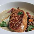 Foie gras poele - creme de lentilles vertes