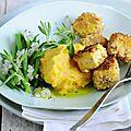 Dés de tofu pané aux noix (ressemblent au poisson pané)