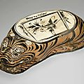 A Cizhou-type painted tiger-form pillow, Jin dynasty, late 12th century