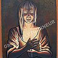 LUMIERE POUR MON PERE - Eclairage clair obscur bougie - Ghislaine Letourneur Peinture sur bois Clair Obscur Huile - Light for my father