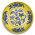 A yellow-ground and underglaze-blue 'gardenia' dish, zhengde mark and period (1506-1521)