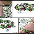REF Pi 0010 bracelet vert mauve orange