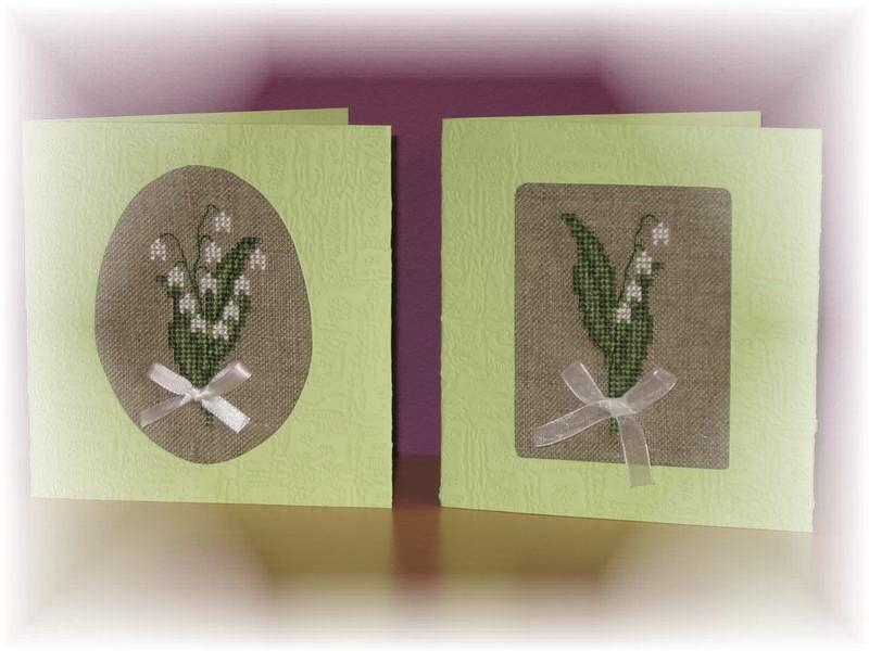 Des cartes '' Muguet '' Brodé par Muriel