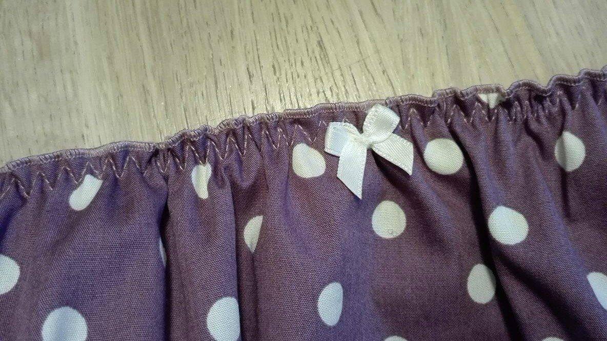 Culotte CHARLOTTE en coton prune à pois blancs - taille M