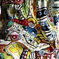 Hervé THAREL - SCHMIMBLOCK'S colonne 2014 - acrylique sur argile-plastiroc armé bois-fer 192x21cm détail 35