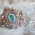 Bracelet manchette dentelle menthe haute-couture