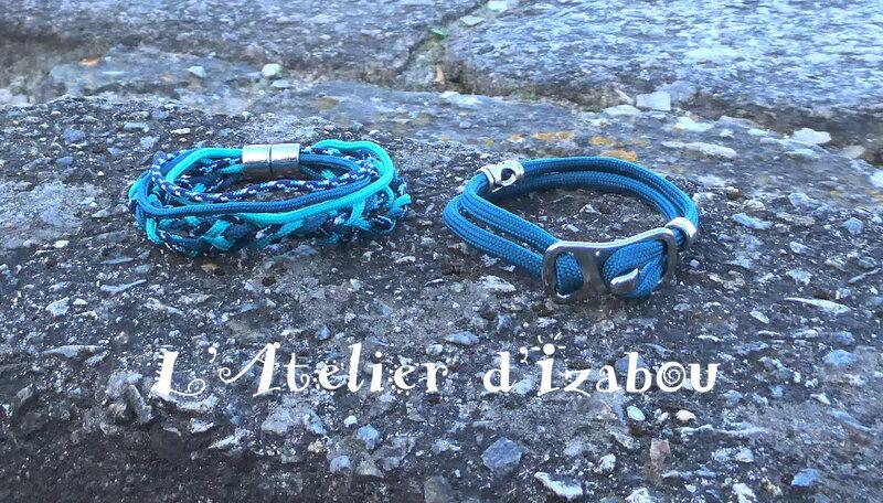 1030250 Duo de bracelet paracorde tons bleus