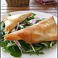 Croustillants aux tomates, camembert & basilic, roquette aux fruits de la passion - cuscurrantes a los tomates, camembert ....