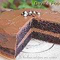 Devil's food cake et ganache chocolat au lait / mangue-fruits de la passion