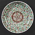 Coupe circulaire en porcelaine à décor polychrome des émaux de la famille verte, début de la période Kangxi (1662-1722)