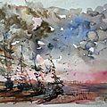 Gréements sur la plage,aquarelle 40x30,papier grain fin