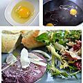 Oeufs pochés au vin rouge, huile de truffe et copeaux de parmesan