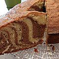 Gâteau zébré à la noix de coco et à la noisette !