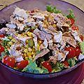 Salade de poulet et cruditées.