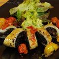 Calamars farcis au boudin noir et sauce aux tomates cerises d'après jamie oliver
