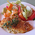 Chicken with cornmeal-herb-crust and summer salad