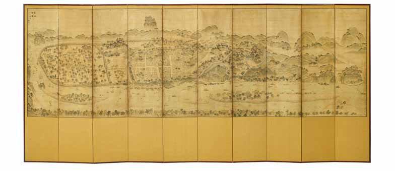 Kecheng godaejido 箕城古圖 고대지도, A 10-panel screen of Pyongyang and its environs, Joseon dynasty (1392-1897), 19th century