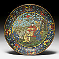 A cloisonné enamel dish decorated with daoist immortals, china, ming dynasty, 16th century