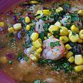 Soupe de quinoa à la coriandre et aux crevettes