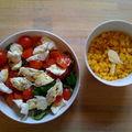 Tomates cerises et mozzarella di buffala, mâche