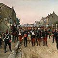 Claris, soldats prussiens escortant des prisonniers français