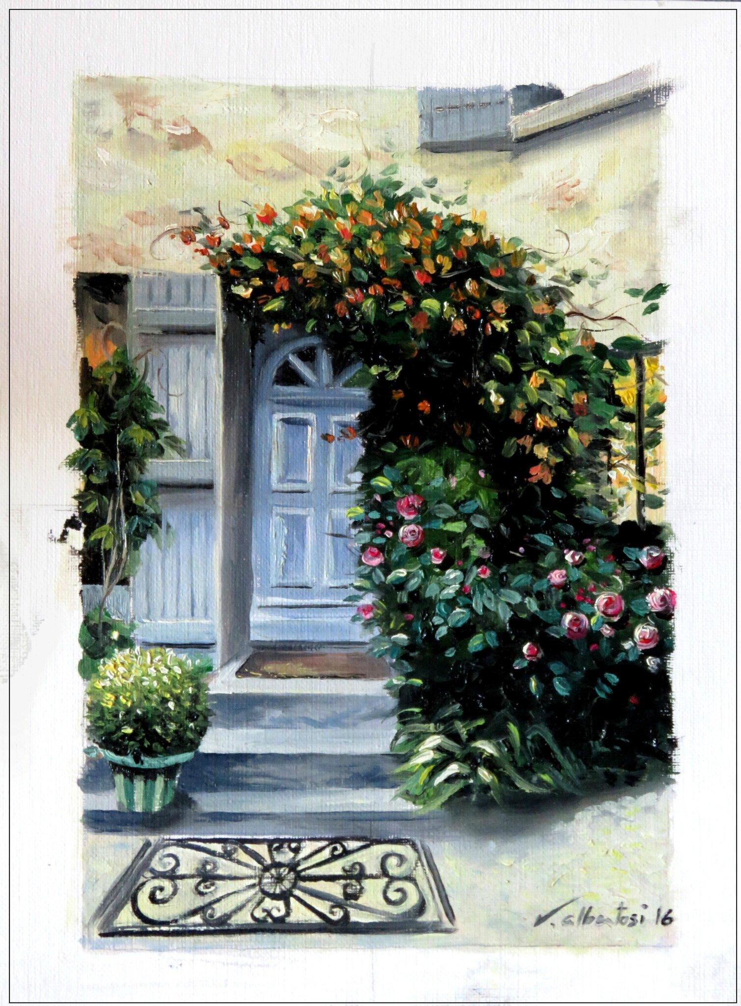 french house and garden oil color painting peinture à huile maison en pierre chèvrefeuille valerie albertosi