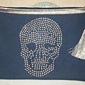 Pochette Strass 'Skull' marine