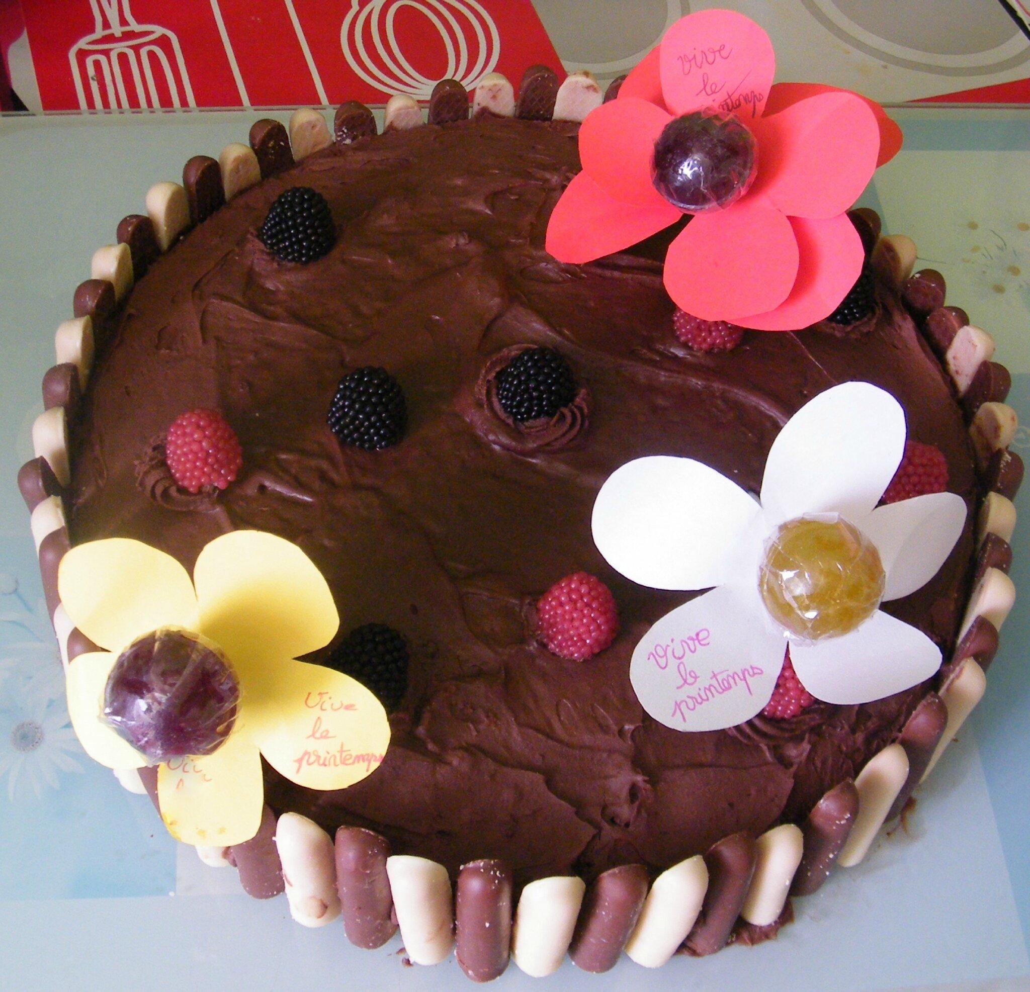 """Gateau """"jardinière de printemps"""" [moelleux au chocolat + ganache]"""