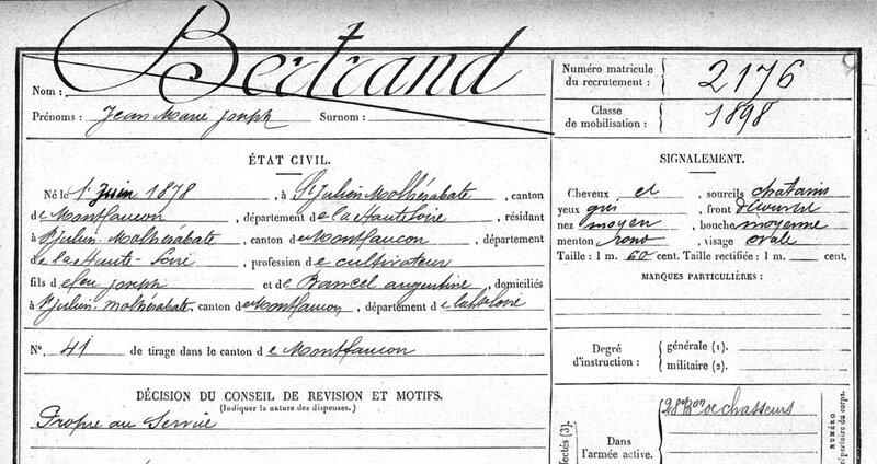 BERTRAND Jean Marie, fichel matricule (1)