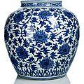 A blue and white lotus jar, Wanli period (1573-1619)