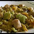 Mijoté de fèves au lait de coco et saucisse de volaille