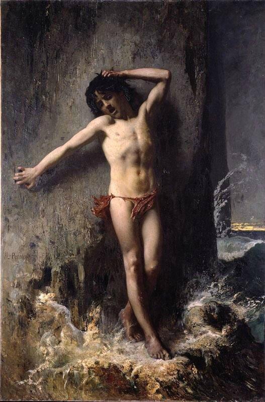 Léon Perrault 1832-1908 Jeune Baigneur surpris par la marée ou Le petit Naufragé 1874